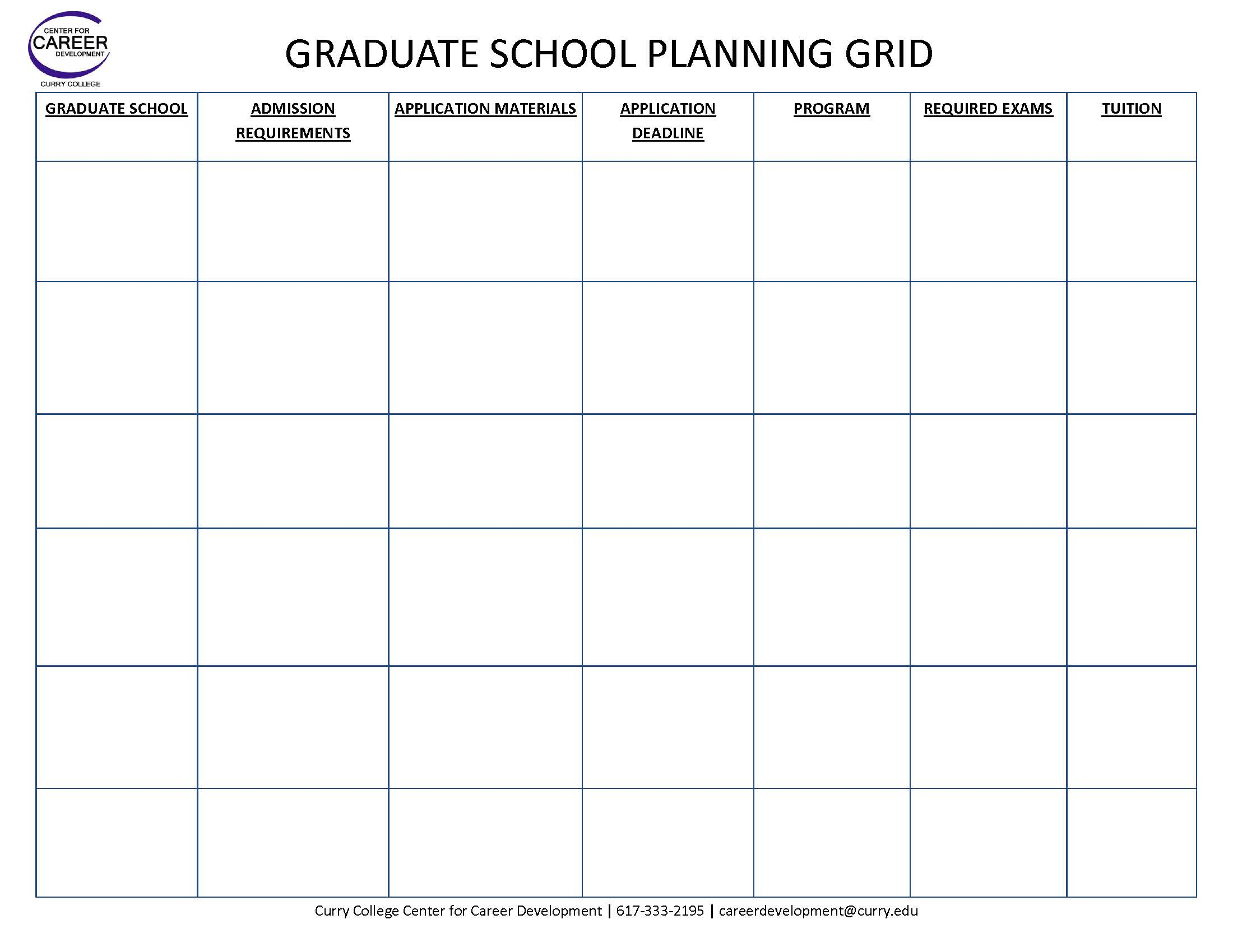 MyCurry Graduate School – College Search Worksheet